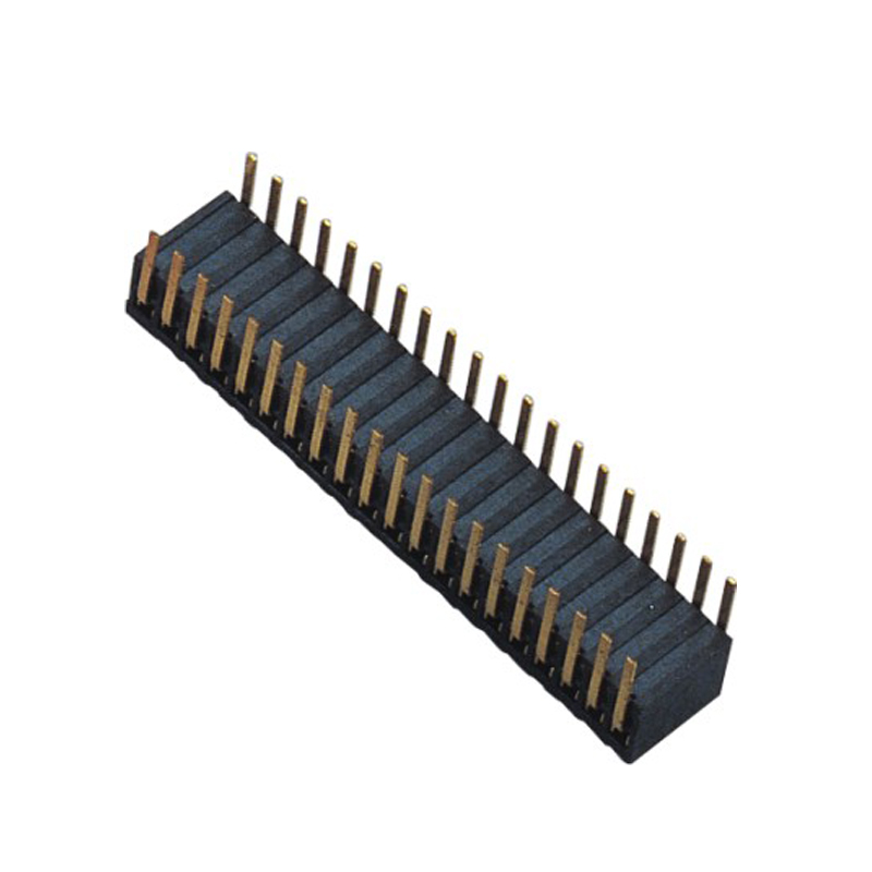1.27mm Female Header H=3.5 Double Row Right Angle Type Side Entry Type