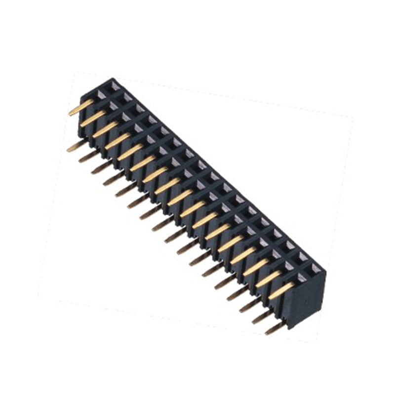 2.54mm Female header H=5.9 Double Row Right Angle Type Side Entry Type