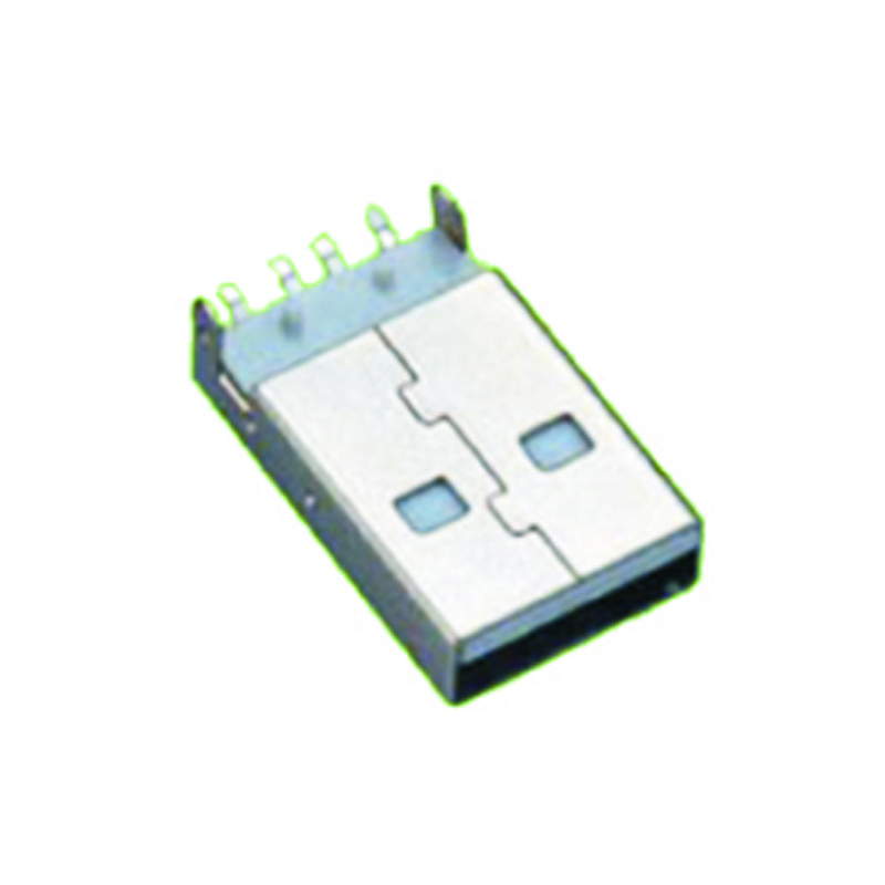 USB 2.0 A Type Male Right Angle SMT With Post