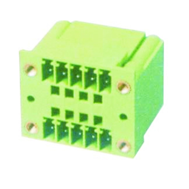 3.50mm Pluggable Terminal Blocks Male Dual Row Right Angle Type With Flange