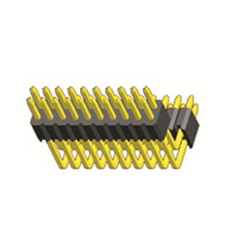 1.27mm Pin Header H=2.5 Double Row Right Angle Type Middle bend