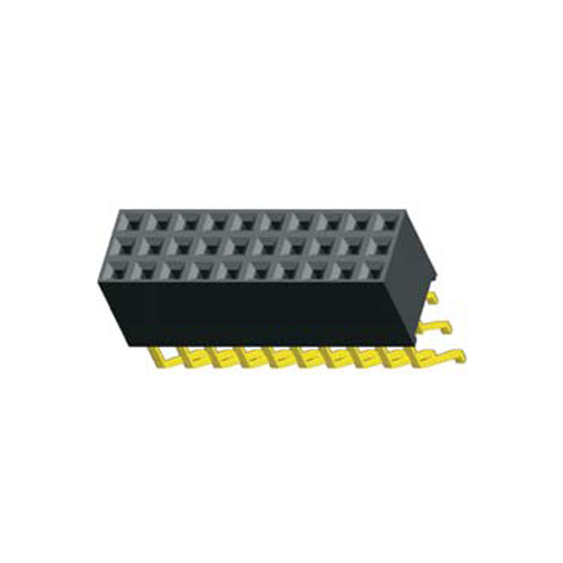 2.54mm Female header H=8.5  3 Row Right Angle SMT Type
