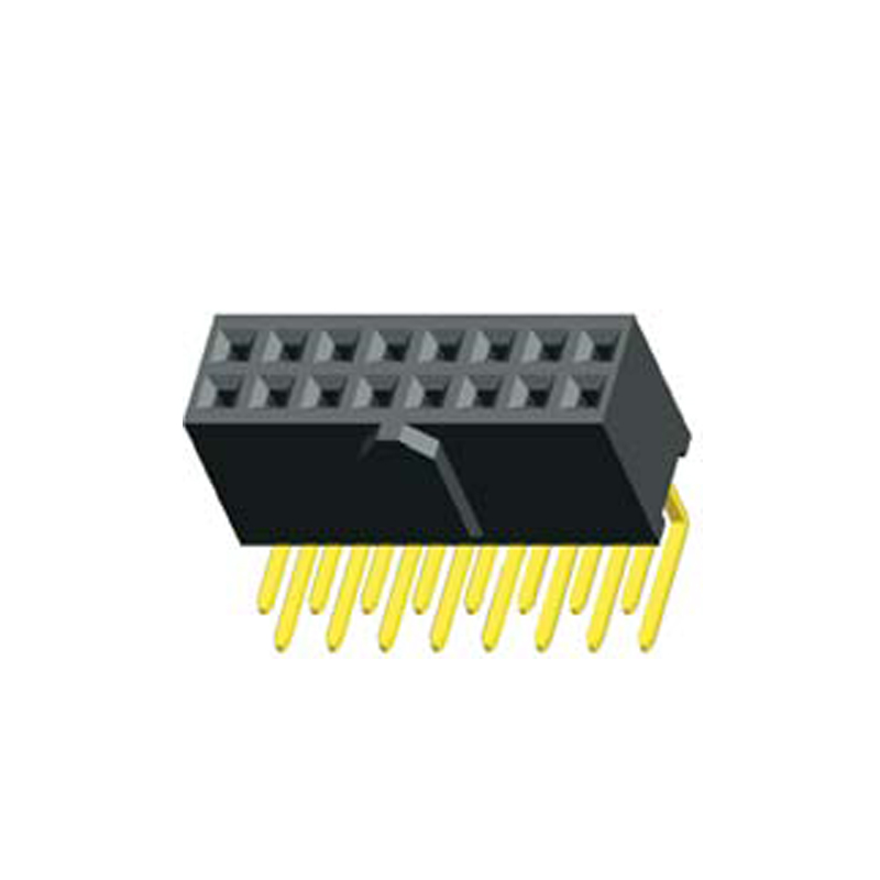 2.54mm Female Header H=8.5mm Dual Row Right Angle with Bump Type