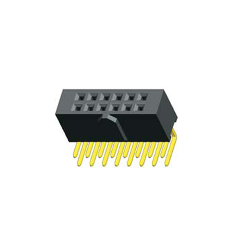 2.54mm Female Header H=8.5mm Dual Row Right Angle with Bump&Blocked Type