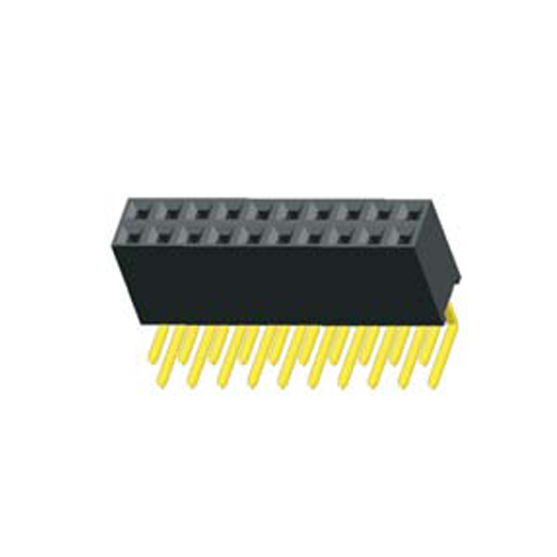 2.54mm Female header H=8.5 Dual Row Right Angle Type