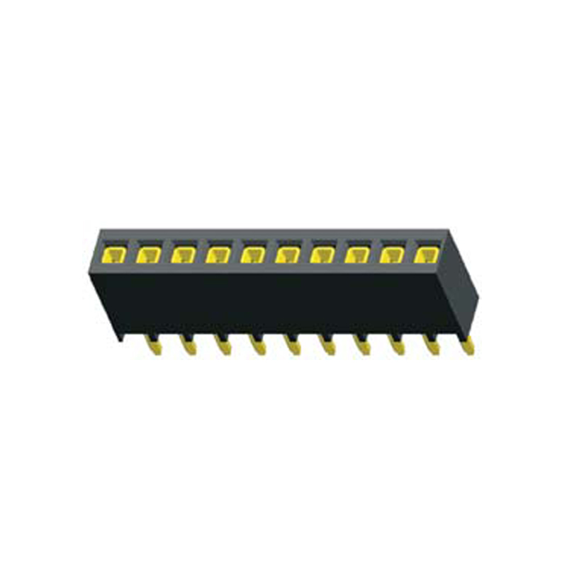 2.54mm Female header H=7.25mm Single Row Straight,Top Entry Kink Type