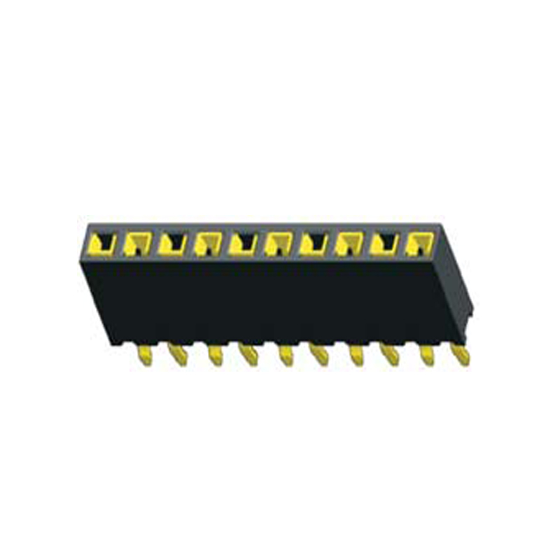 2.54mm Female header H=7.0 Single Row Straight,Top Entry Kink Type