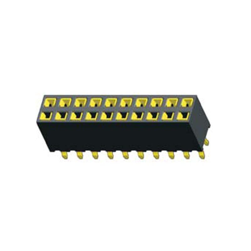 2.54mm Female header H=7.0 Double Row Straight,Top Entry Kink Type